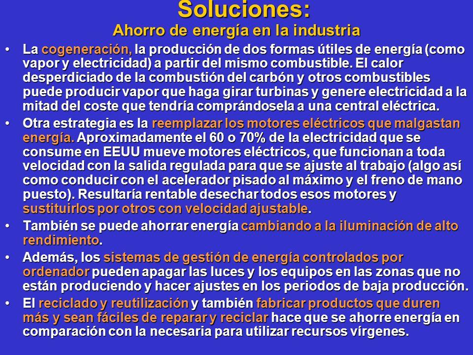 Soluciones: Ahorro de energía en la industria La cogeneración, la producción de dos formas útiles de energía (como vapor y electricidad) a partir del