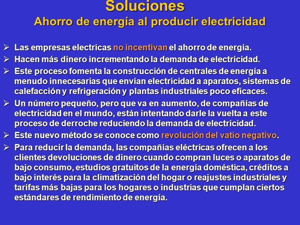 Soluciones Ahorro de energía al producir electricidad Las empresas electricas no incentivan el ahorro de energía. Las empresas electricas no incentiva