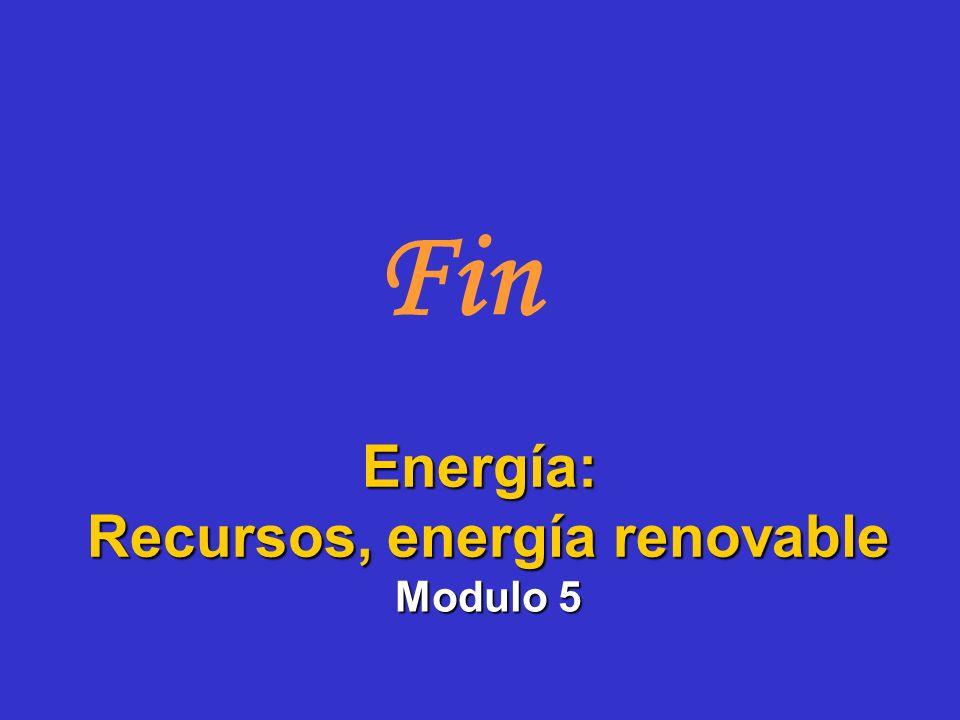Fin Modulo 5 Energía: Recursos, energía renovable Recursos, energía renovable