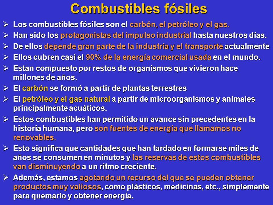Combustibles fósiles Los combustibles fósiles son el carbón, el petróleo y el gas. Los combustibles fósiles son el carbón, el petróleo y el gas. Han s