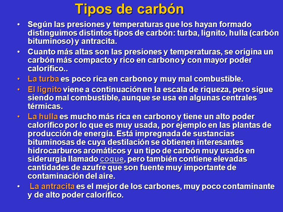 Tipos de carbón Según las presiones y temperaturas que los hayan formado distinguimos distintos tipos de carbón: turba, lignito, hulla (carbón bitumin