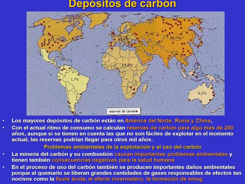 Depósitos de carbón Los mayores depósitos de carbón están en América del Norte, Rusia y China,Los mayores depósitos de carbón están en América del Nor