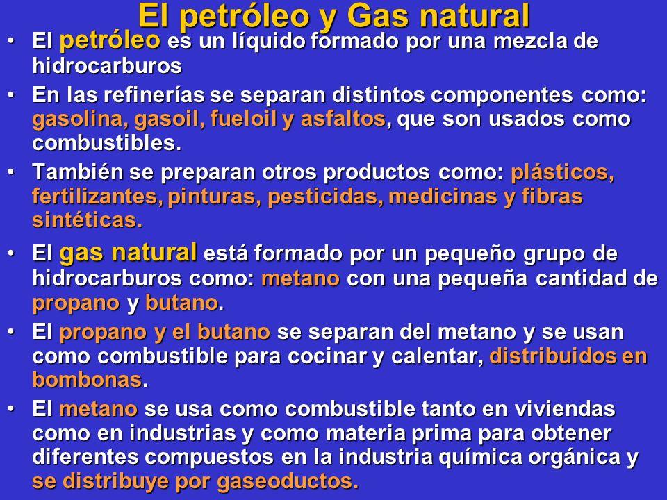 El petróleo y Gas natural El petróleo es un líquido formado por una mezcla de hidrocarburosEl petróleo es un líquido formado por una mezcla de hidroca