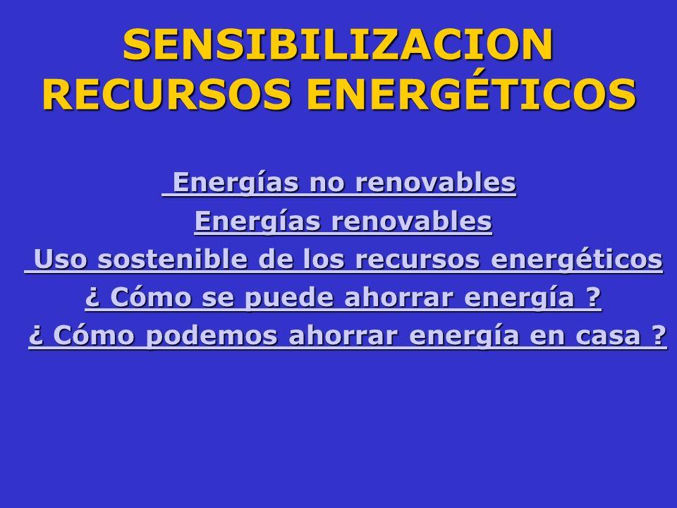 SENSIBILIZACION RECURSOS ENERGÉTICOS Energías no renovables Energías no renovables Energías renovables Energías renovablesEnergías renovablesEnergías
