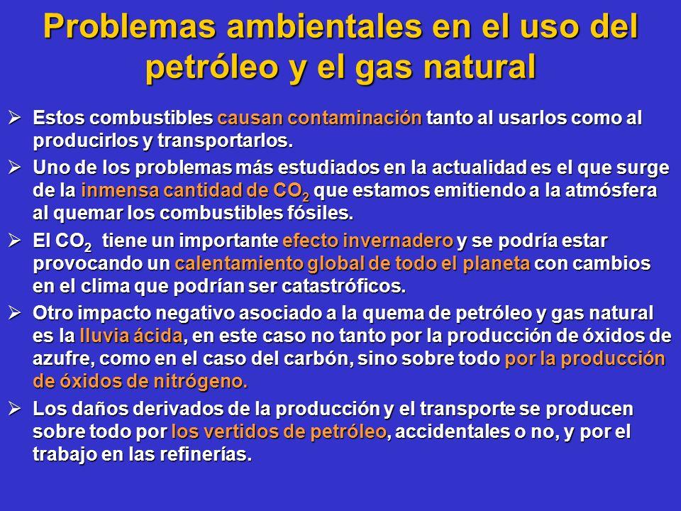 Problemas ambientales en el uso del petróleo y el gas natural Estos combustibles causan contaminación tanto al usarlos como al producirlos y transport