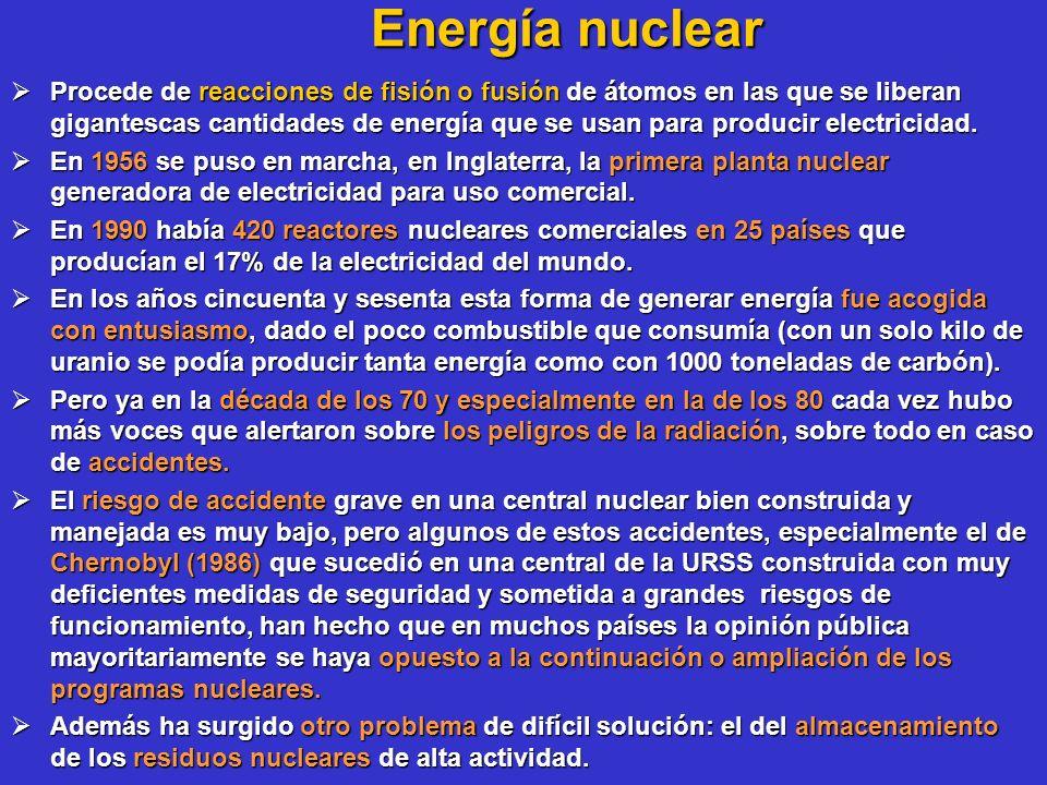 Energía nuclear Procede de reacciones de fisión o fusión de átomos en las que se liberan gigantescas cantidades de energía que se usan para producir e