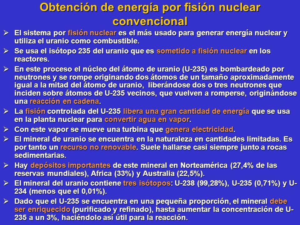 Obtención de energía por fisión nuclear convencional El sistema por fisión nuclear es el más usado para generar energía nuclear y utiliza el uranio co