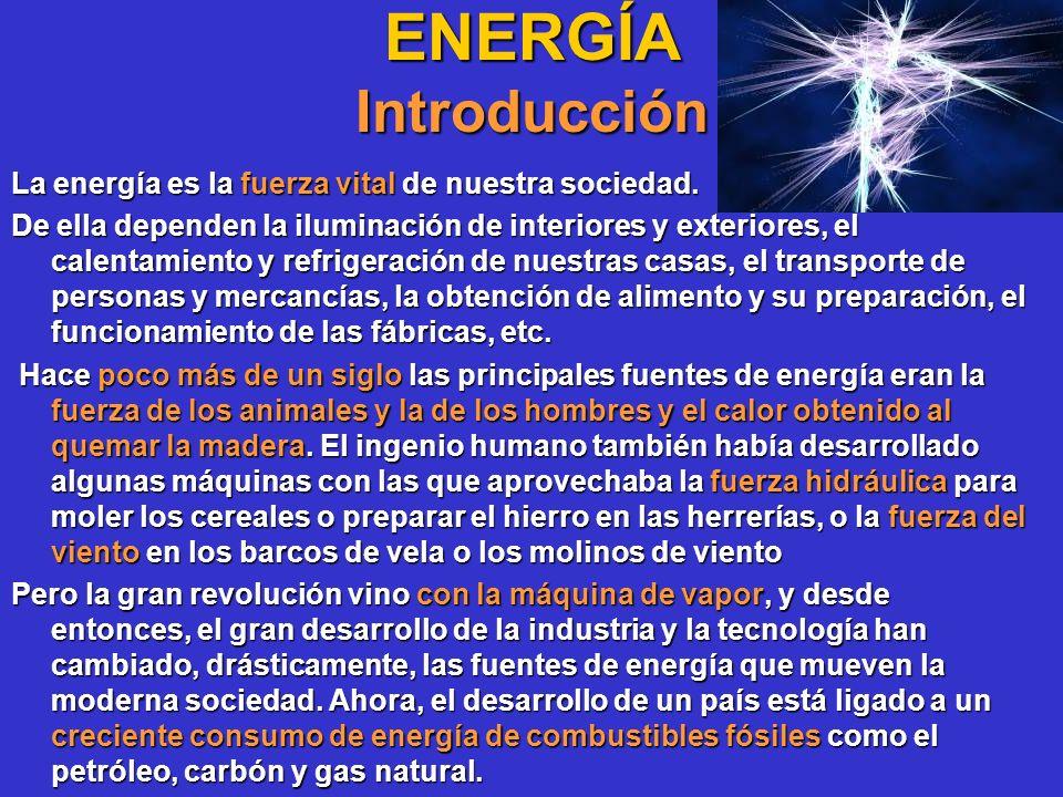 ENERGÍA Introducción La energía es la fuerza vital de nuestra sociedad. De ella dependen la iluminación de interiores y exteriores, el calentamiento y