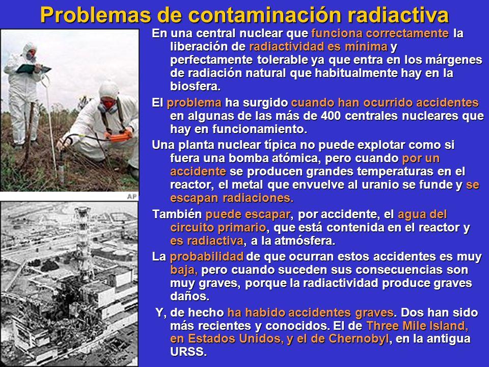 Problemas de contaminación radiactiva En una central nuclear que funciona correctamente la liberación de radiactividad es mínima y perfectamente toler