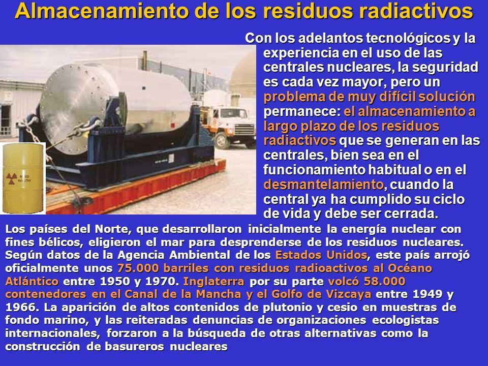 Almacenamiento de los residuos radiactivos Con los adelantos tecnológicos y la experiencia en el uso de las centrales nucleares, la seguridad es cada