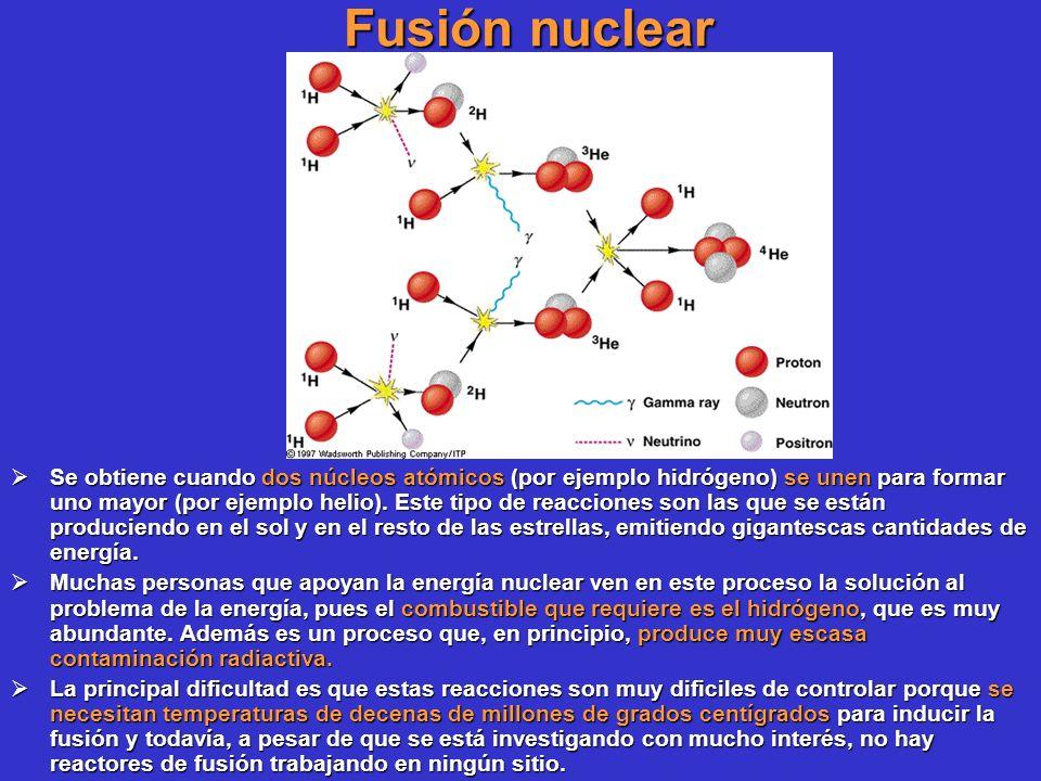Fusión nuclear Se obtiene cuando dos núcleos atómicos (por ejemplo hidrógeno) se unen para formar uno mayor (por ejemplo helio). Este tipo de reaccion