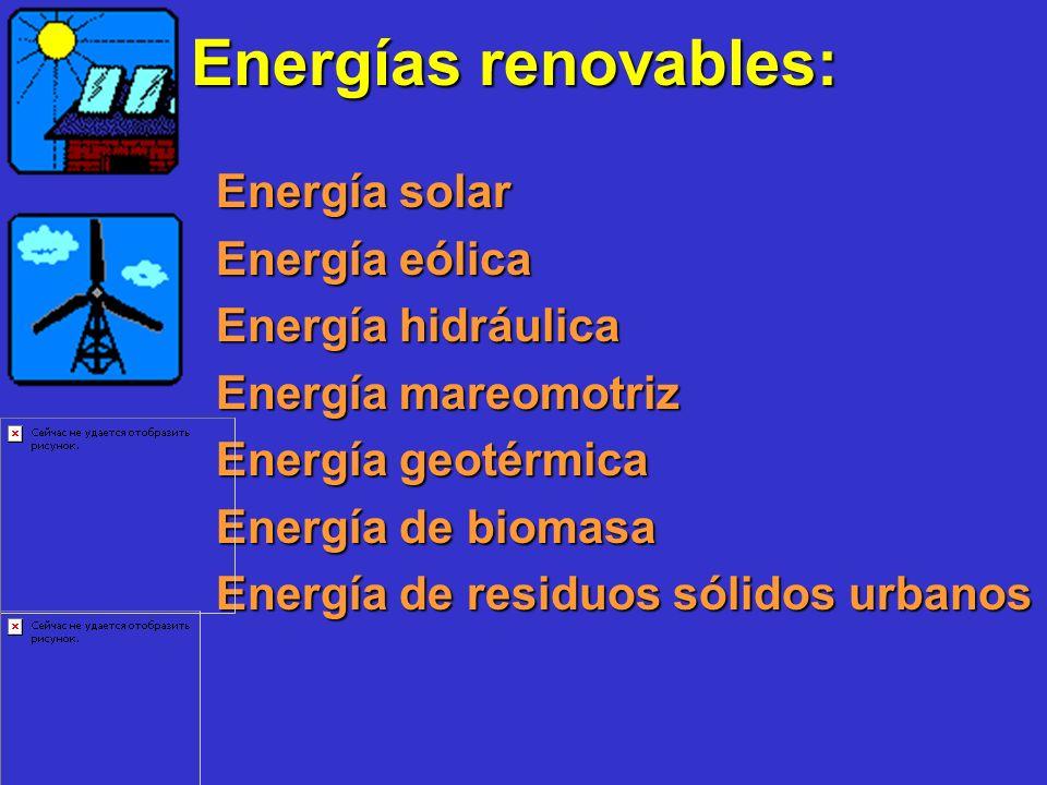 Energías renovables: Energía solar Energía eólica Energía hidráulica Energía mareomotriz Energía geotérmica Energía de biomasa Energía de residuos sól