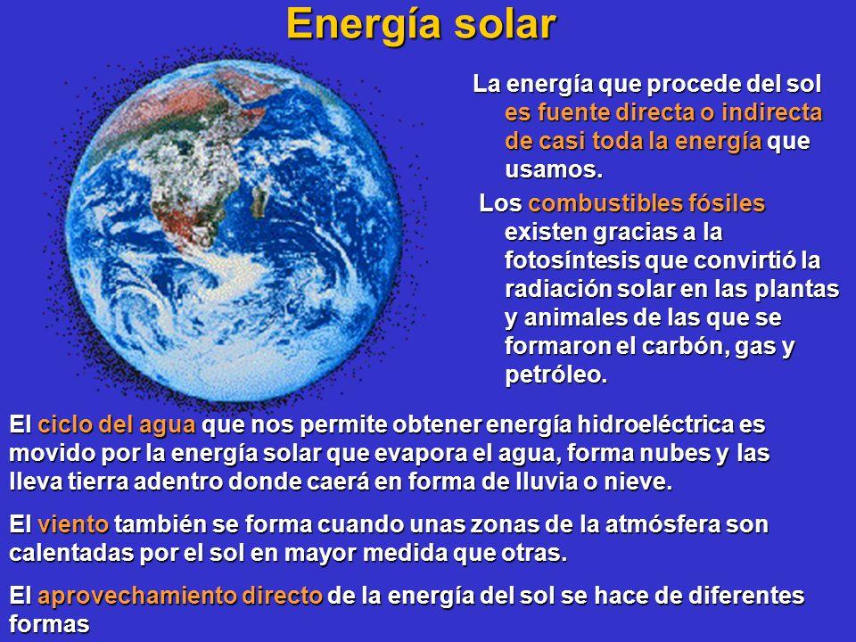 Energía solar La energía que procede del sol es fuente directa o indirecta de casi toda la energía que usamos. Los combustibles fósiles existen gracia