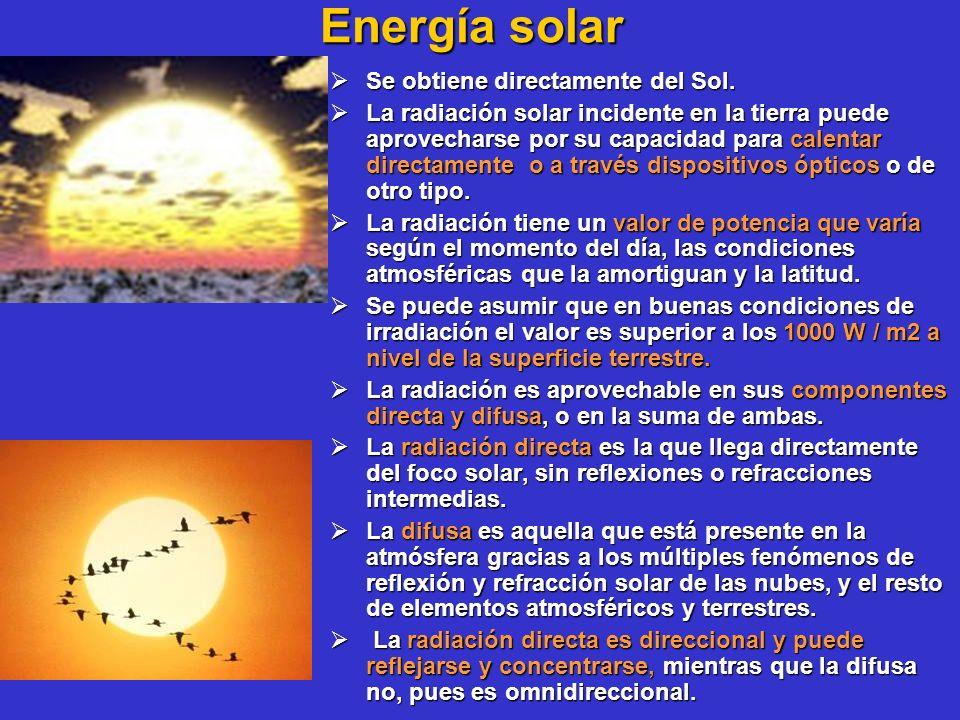 Energía solar Se obtiene directamente del Sol. Se obtiene directamente del Sol. La radiación solar incidente en la tierra puede aprovecharse por su ca
