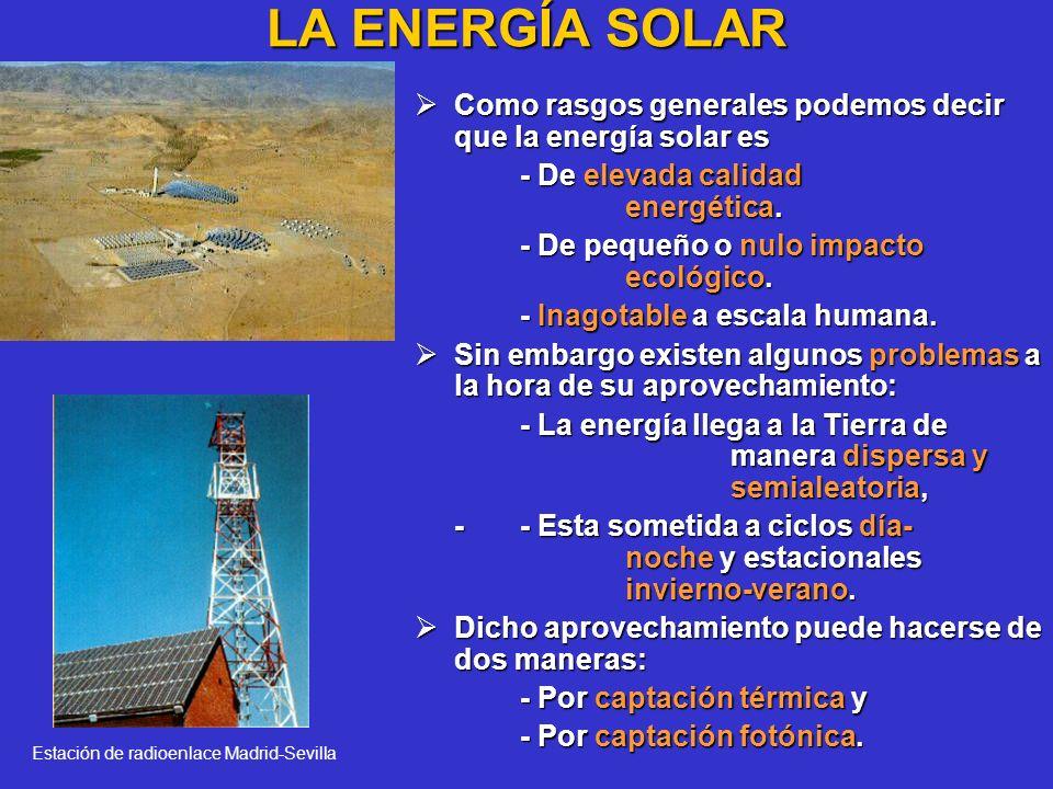 LA ENERGÍA SOLAR Como rasgos generales podemos decir que la energía solar es Como rasgos generales podemos decir que la energía solar es - De elevada