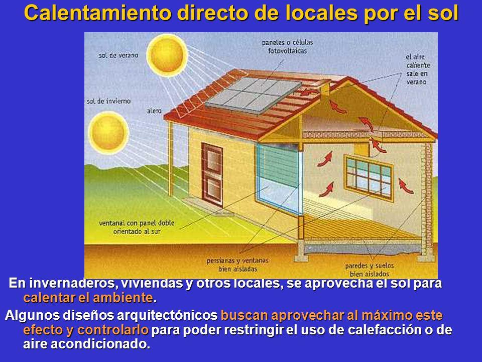 Calentamiento directo de locales por el sol En invernaderos, viviendas y otros locales, se aprovecha el sol para calentar el ambiente. En invernaderos