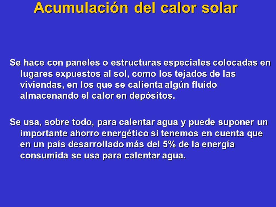 Acumulación del calor solar Se hace con paneles o estructuras especiales colocadas en lugares expuestos al sol, como los tejados de las viviendas, en