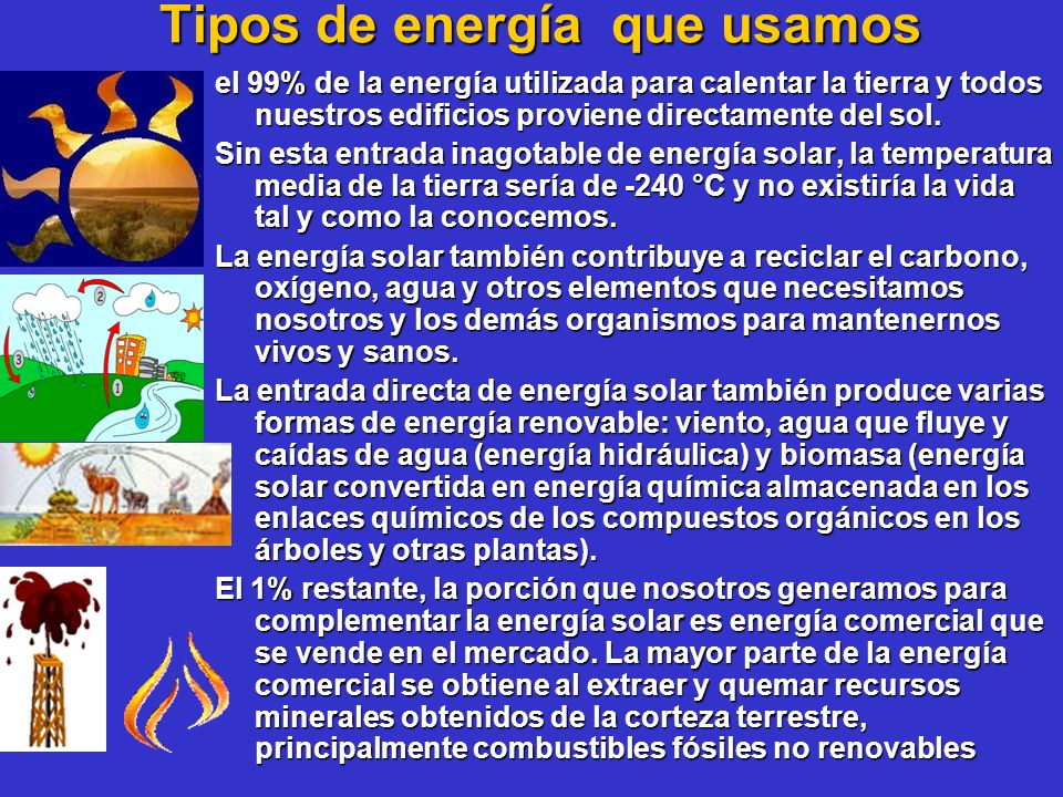 Tipos de energía que usamos el 99% de la energía utilizada para calentar la tierra y todos nuestros edificios proviene directamente del sol. Sin esta