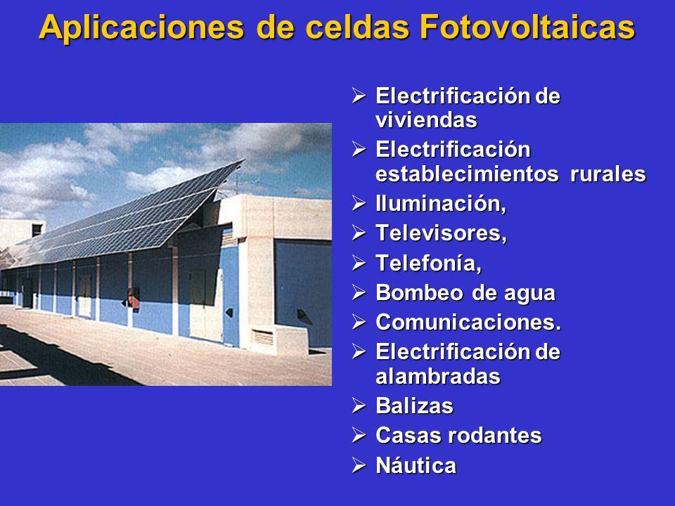 Aplicaciones de celdas Fotovoltaicas Electrificación de viviendas Electrificación de viviendas Electrificación establecimientos rurales Electrificació