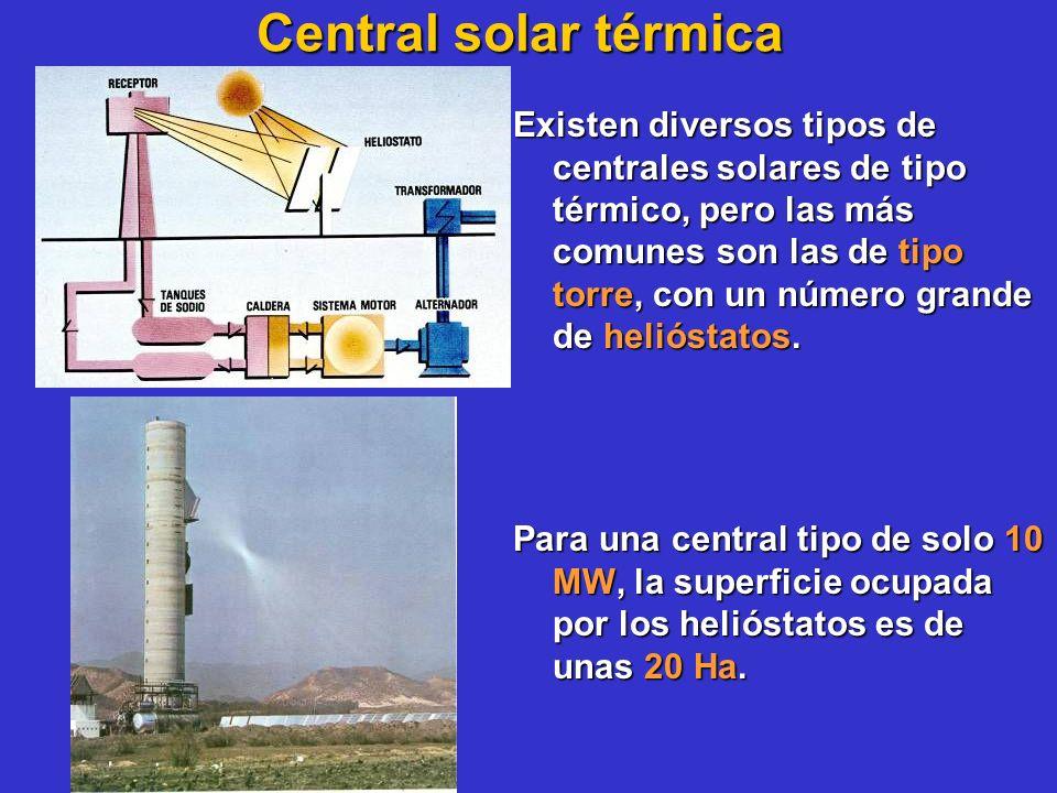 Central solar térmica Existen diversos tipos de centrales solares de tipo térmico, pero las más comunes son las de tipo torre, con un número grande de