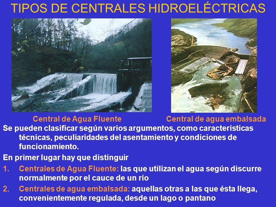 TIPOS DE CENTRALES HIDROELÉCTRICAS Se pueden clasificar según varios argumentos, como características técnicas, peculiaridades del asentamiento y cond