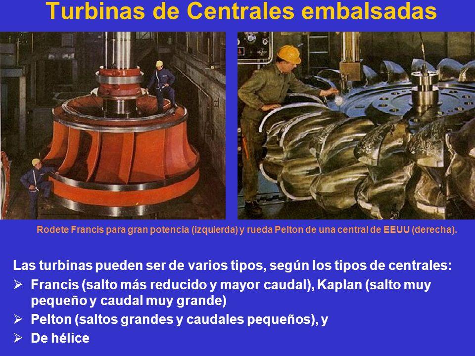Turbinas de Centrales embalsadas Rodete Francis para gran potencia (izquierda) y rueda Pelton de una central de EEUU (derecha). Las turbinas pueden se