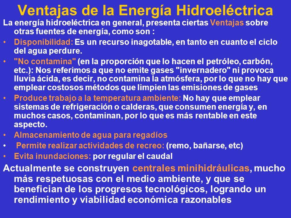 Ventajas de la Energía Hidroeléctrica La energía hidroeléctrica en general, presenta ciertas Ventajas sobre otras fuentes de energía, como son : Dispo