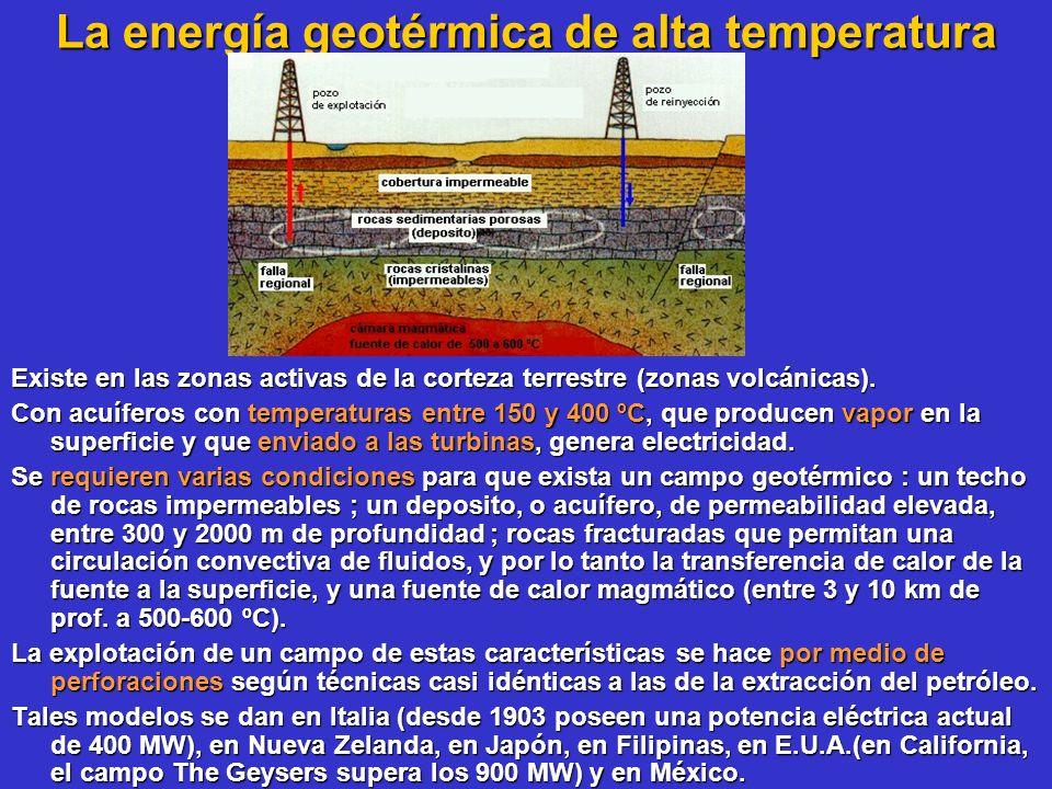 La energía geotérmica de alta temperatura Existe en las zonas activas de la corteza terrestre (zonas volcánicas). Con acuíferos con temperaturas entre