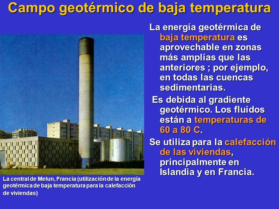 Campo geotérmico de baja temperatura La energía geotérmica de baja temperatura es aprovechable en zonas más amplias que las anteriores ; por ejemplo,