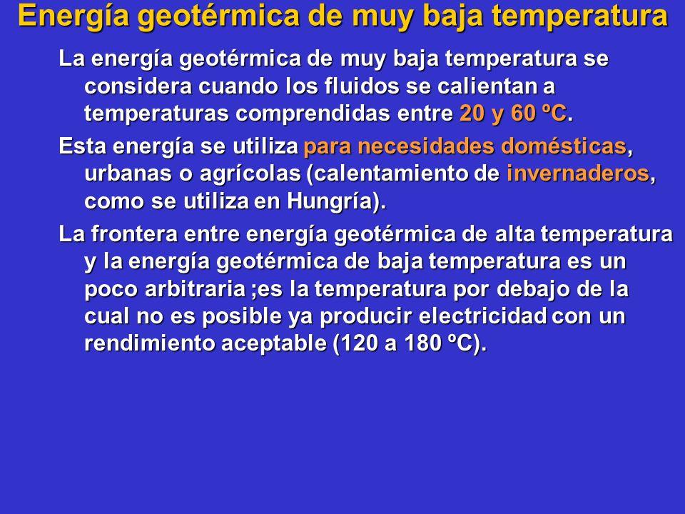 Energía geotérmica de muy baja temperatura La energía geotérmica de muy baja temperatura se considera cuando los fluidos se calientan a temperaturas c