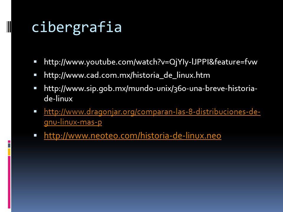 cibergrafia http://www.youtube.com/watch v=QjYIy-lJPPI&feature=fvw http://www.cad.com.mx/historia_de_linux.htm http://www.sip.gob.mx/mundo-unix/360-una-breve-historia- de-linux http://www.dragonjar.org/comparan-las-8-distribuciones-de- gnu-linux-mas-p http://www.dragonjar.org/comparan-las-8-distribuciones-de- gnu-linux-mas-p http://www.neoteo.com/historia-de-linux.neo
