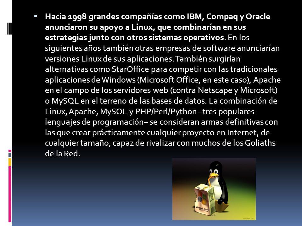Hacia 1998 grandes compañías como IBM, Compaq y Oracle anunciaron su apoyo a Linux, que combinarían en sus estrategias junto con otros sistemas operativos.