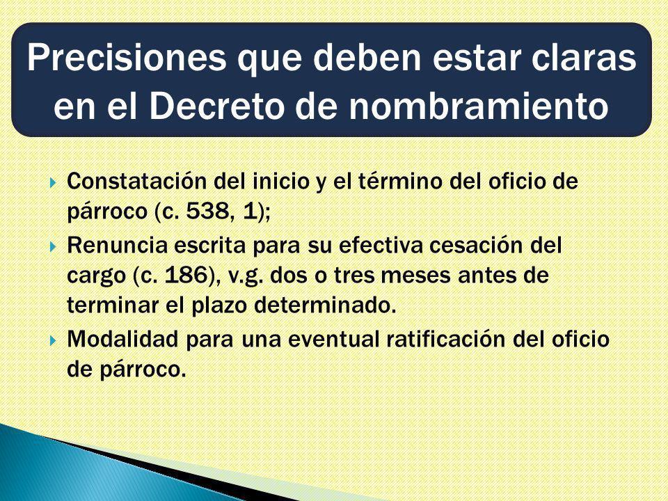 Constatación del inicio y el término del oficio de párroco (c.