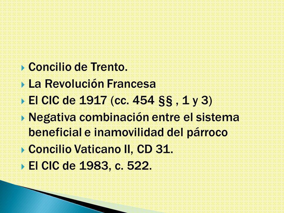 Concilio de Trento. La Revolución Francesa El CIC de 1917 (cc.