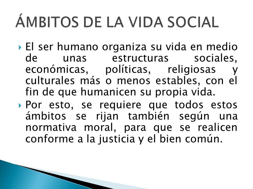 El ser humano organiza su vida en medio de unas estructuras sociales, económicas, políticas, religiosas y culturales más o menos estables, con el fin
