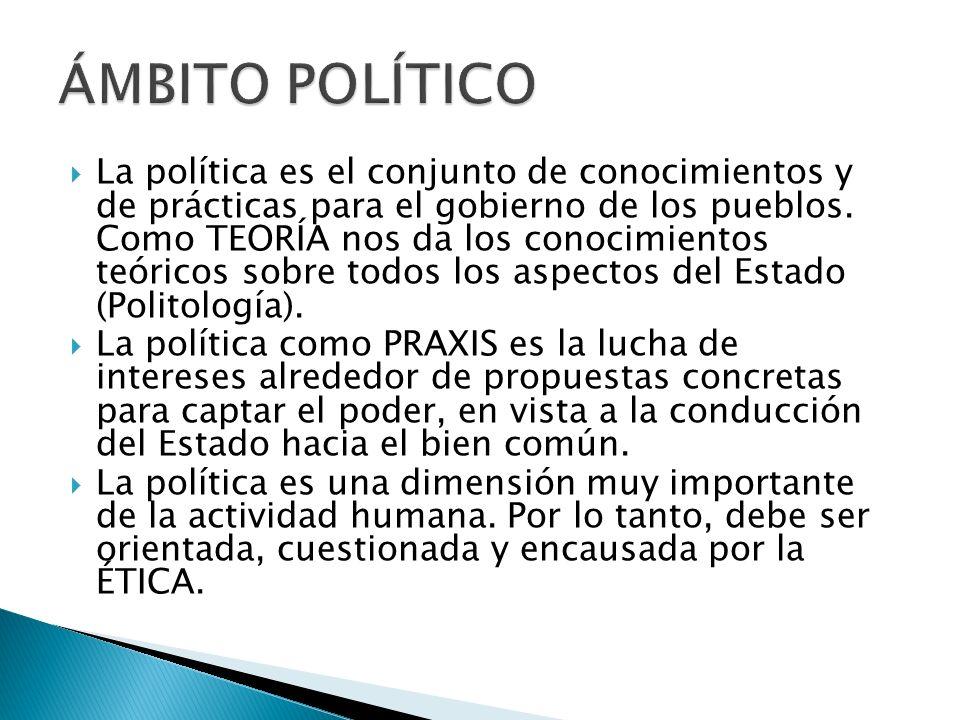 La política es el conjunto de conocimientos y de prácticas para el gobierno de los pueblos. Como TEORÍA nos da los conocimientos teóricos sobre todos