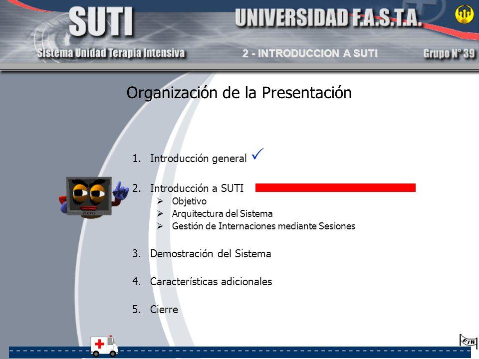 1.Introducción general 2.Introducción a SUTI Objetivo Arquitectura del Sistema Gestión de Internaciones mediante Sesiones 3.Demostración del Sistema 4