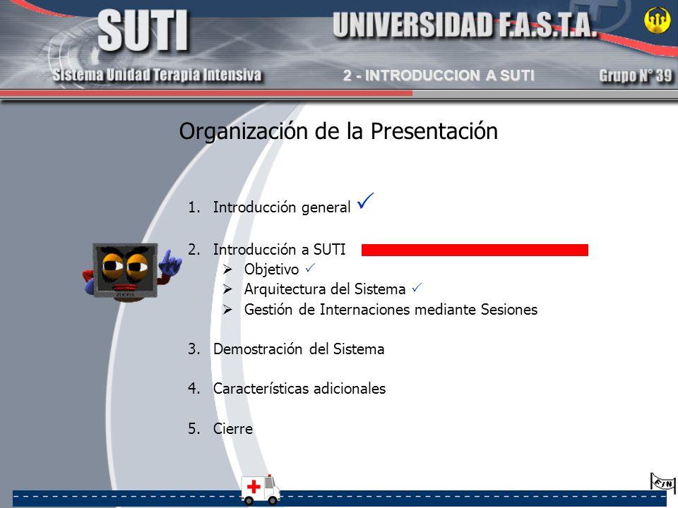 Organización de la Presentación 1.Introducción general 2.Introducción a SUTI Objetivo Arquitectura del Sistema Gestión de Internaciones mediante Sesio