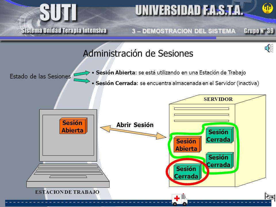 SERVIDOR Sesión Abierta Sesión Abierta Sesión Abierta Sesión Cerrada Sesión Abierta: se está utilizando en una Estación de Trabajo ESTACION DE TRABAJO