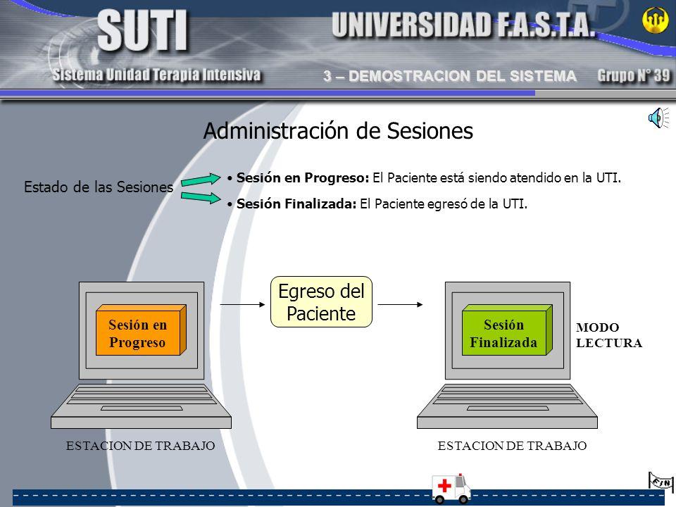 Sesión en Progreso: El Paciente está siendo atendido en la UTI. ESTACION DE TRABAJO Sesión en Progreso Egreso del Paciente Sesión Finalizada: El Pacie