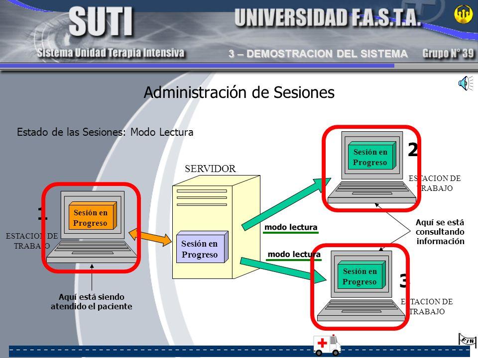 Administración de Sesiones 1 3 2 Aquí se está consultando información Aquí está siendo atendido el paciente Estado de las Sesiones: Modo Lectura SERVI