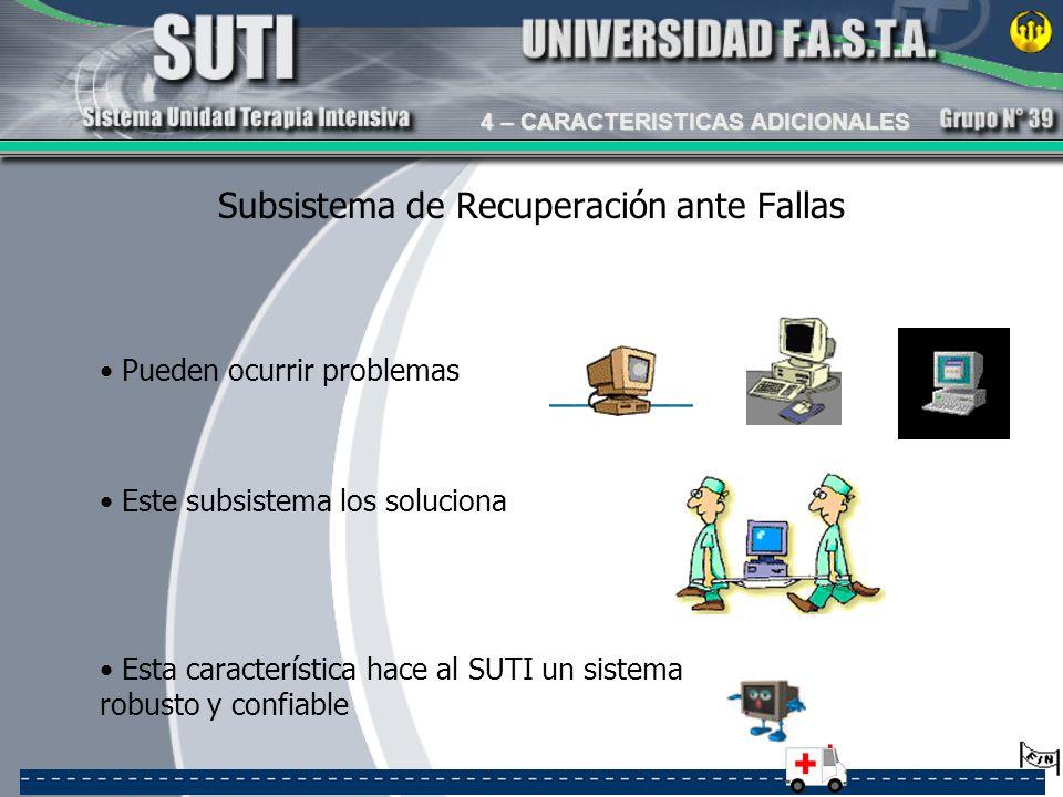 Subsistema de Recuperación ante Fallas Este subsistema los soluciona Pueden ocurrir problemas Esta característica hace al SUTI un sistema robusto y co