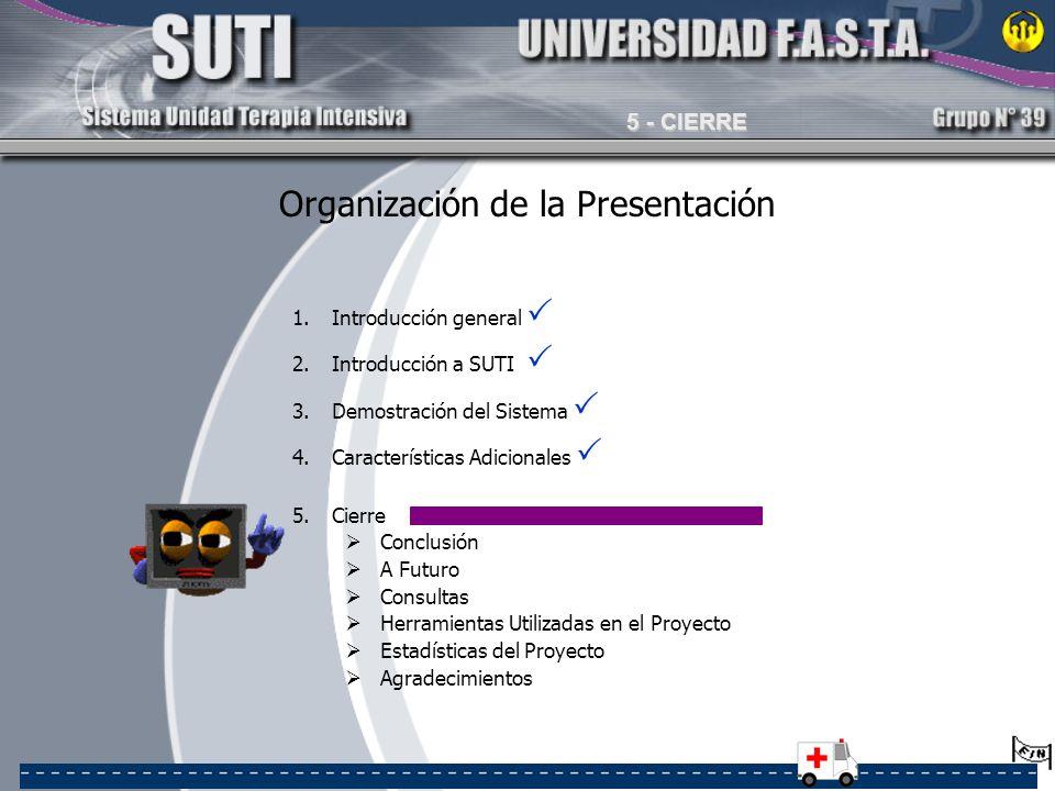 Organización de la Presentación 1.Introducción general 2.Introducción a SUTI 3.Demostración del Sistema 4.Características Adicionales 5.Cierre Conclus