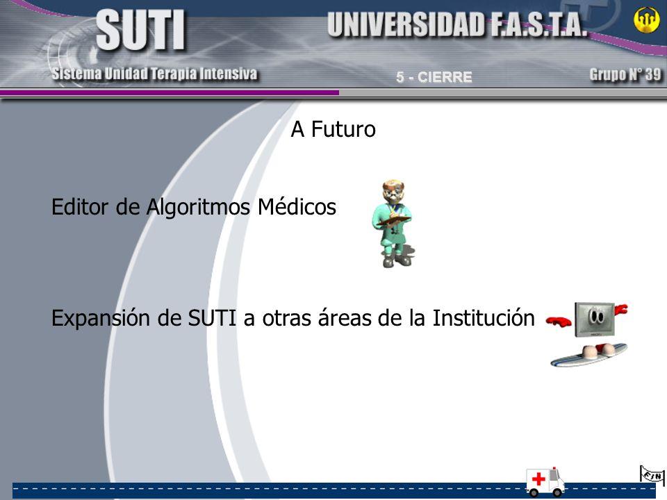 A Futuro Editor de Algoritmos Médicos Expansión de SUTI a otras áreas de la Institución 5 - CIERRE