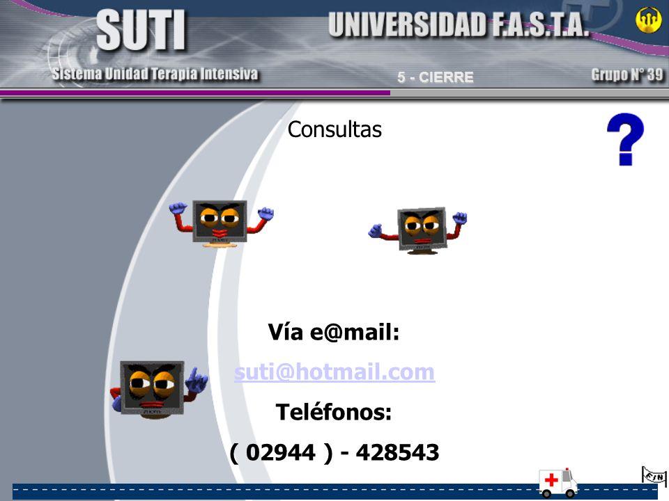 Consultas Vía e@mail: suti@hotmail.com Teléfonos: ( 02944 ) - 428543 5 - CIERRE