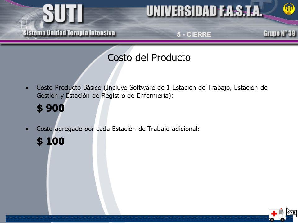 Costo del Producto Costo Producto Básico (Incluye Software de 1 Estación de Trabajo, Estacion de Gestión y Estación de Registro de Enfermería): $ 900