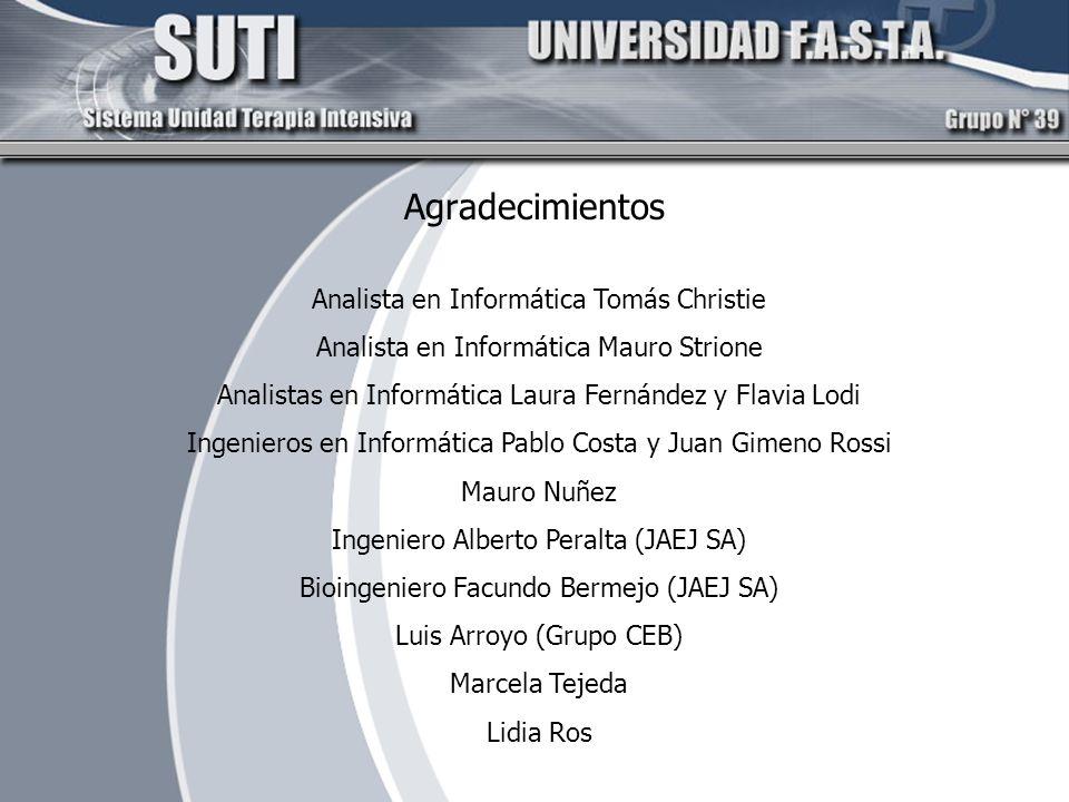 Agradecimientos Analista en Informática Tomás Christie Analista en Informática Mauro Strione Analistas en Informática Laura Fernández y Flavia Lodi In