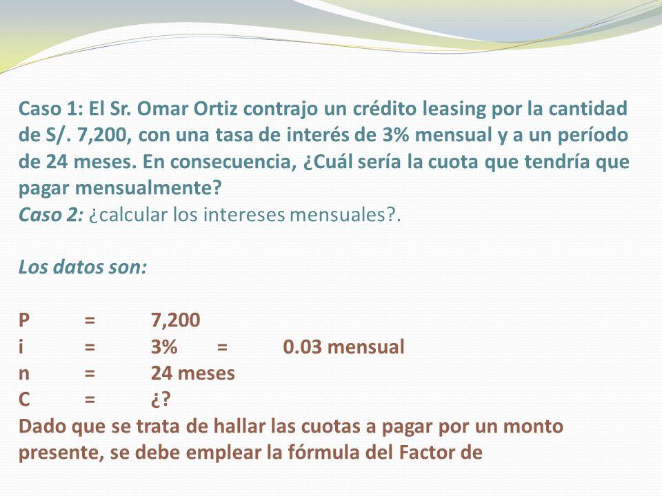 Caso 1: El Sr. Omar Ortiz contrajo un crédito leasing por la cantidad de S/. 7,200, con una tasa de interés de 3% mensual y a un período de 24 meses.
