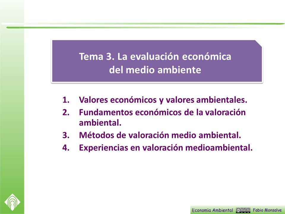 1.Valores económicos y valores ambientales. 2.Fundamentos económicos de la valoración ambiental. 3.Métodos de valoración medio ambiental. 4.Experienci