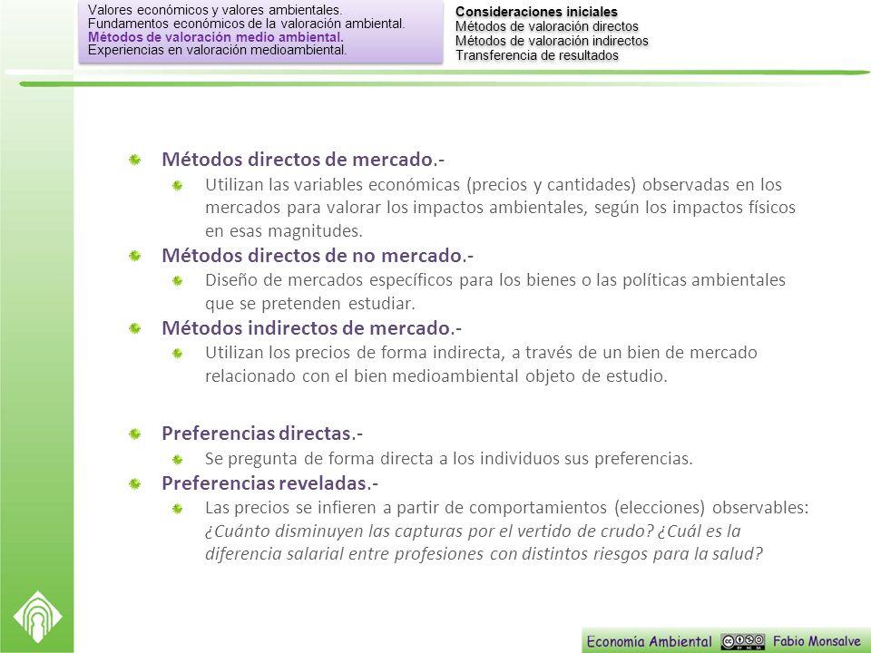 Métodos directos de mercado.- Utilizan las variables económicas (precios y cantidades) observadas en los mercados para valorar los impactos ambientale